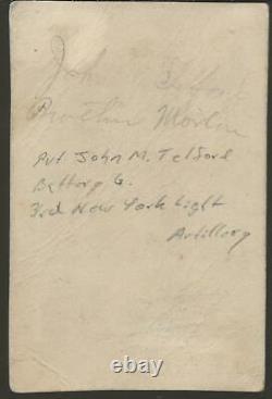 Civil War CDV Union PVT John M Telford 3rd NY Light Artillery Battery G