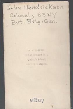 Civil War CDV of Colonel & BBG John Hendrickson 83rd New York Infantry