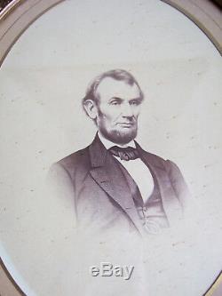 Civil War Era Abraham Lincoln Large-Format Photograph Portrait in Antique Frame