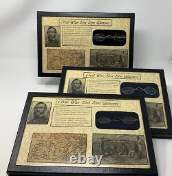 Civil War Era Eye Glasses with Glass Topped Display Case and COA