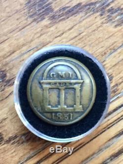 Civil War Georgia Military Institute (GMI) Button Rare 1851 Fine Gilt Backmark