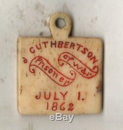 Civil War Prisoner of War dog tag Capt. John Cuthbertson Co H Beaver County Penn