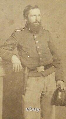 Civil War Soldier CDV Image ID'd D Washburn Holding McDowell Style Kepi & Armed