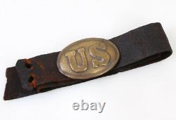 Civil War US Arrow Hook/Puppy Paw Oval Brass Belt Buckle Original Non-Dug