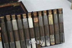 Early Civil War Era medicine homeopathy fitted box pharmacy 36 bottles 19th 1850
