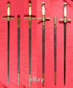 Early Masonic Skull Sword w Black Leather Scabbard Civil War Era Memento Mori