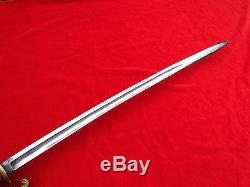 Fine Antique American CIVIL War Ames M1852 Naval Officers Sword Decorated Blade