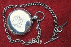 Fine CIVIL War Period Rare 8 Sided Coin Silver Hunter Case Pocket Watch & Chain