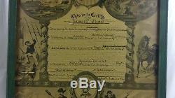 Framed CIVIL WAR Discharge Paper New York 1865 Man Cave