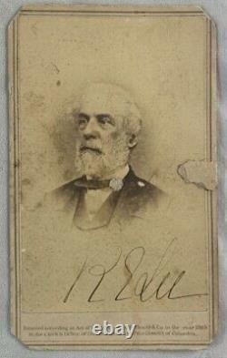 HAND SIGNED w PSA COA Confederate Civil War General R. E. Lee CDV Photo by Brady