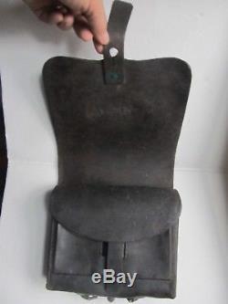 IDENTIFIED Civil War Leather. 58 Cartridge Box, All Buckles & Straps Intact, GAR