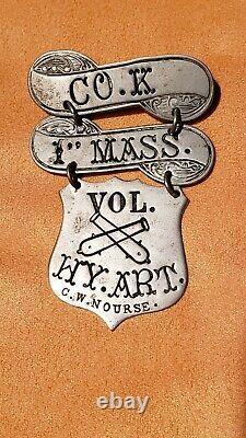 Investment Grade Civil War Artillery Corps Ladder Badge, 1st MA Heavy Artillery