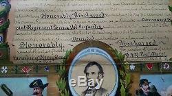 John J Clark CIVIL War Discharge Papers / Poster Wellsville, Ohio