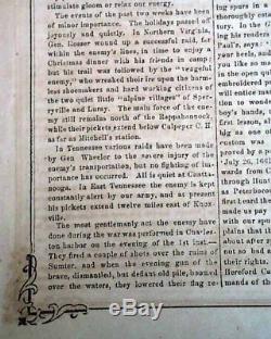John R. Jones CONFEDERATE Illustrated Civil War RICHMOND VA 1864 Old Newspaper