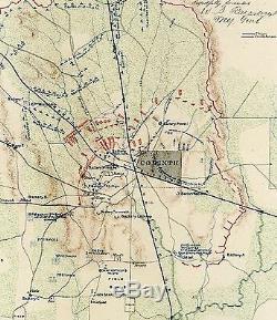 Large Original Antique CSA US Civil War Map BATTLE CORINTH Mississippi MS Iuka