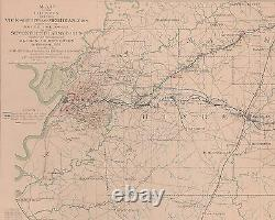 Large Original Antique Civil War Campaign Map VICKSBURG MERIDIAN Mississippi MS