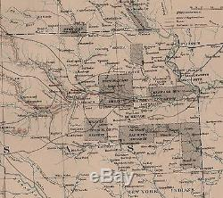 Large Original Antique Civil War EXPLORATION Map TEXAS Kansas INDIAN TERRITORY
