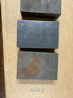 Lot Of 4 Civil War Union Leather Musket Cartridge Box Tin Insert Set Original