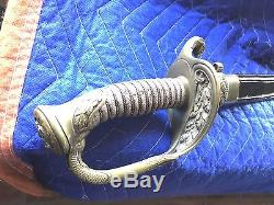 M 1852 Civil War US Navy Officers Sword Etched Blade