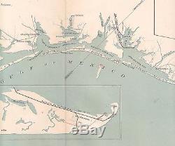 Original Antique CSA US Civil War Map COAST OF TEXAS Corpus Christi Galveston TX