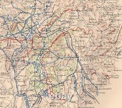 Original Antique Civil War Map ATLANTA CAMPAIGN Rome Marietta Jonesboro GEORGIA
