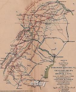 Original Antique Civil War Map BATTLE of GETTYSBURG from Robert E. Lee's Reports