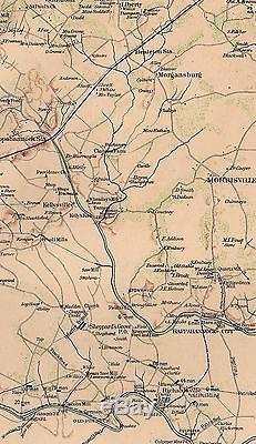 Original Antique Civil War Map CONFEDERATE ARMY Virginia Battles Culpeper VA
