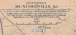 Original Antique Civil War Map Defenses of LOUISVILLE & MUNFORDVILLE Kentucky KY