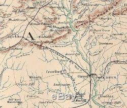 Original Antique Civil War Map GEORGIA ALABAMA Montgomery Opelika AL Columbus GA