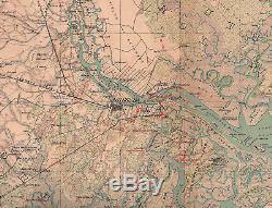 Original Antique Civil War Map Sherman's Siege SAVANNAH Georgia GA December 1864