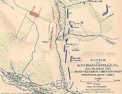 Original Antique Civil War Map VIRGINIA Mechanicsville New Market Richmond VA