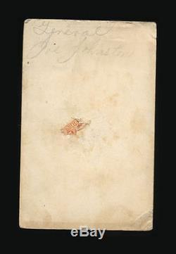 Original Civil War CDV Photo CSA Confederate General Joseph Johnston / Tax Stamp