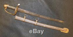 Original Civil War Era Drummer Boy Sword Miniature US Sabre Original Scabbard