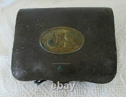 Original Leather Md 1855 CIVIL WAR CARTRIDGE BOX with US Brass Oval and TINS