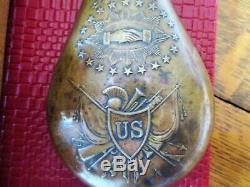 Original U. S. Model 1850's pre-civil war Peace & Friendship Powder flask Batty
