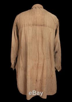 Original Vintage 1860's Civil War Era Butternut Color Stripped Calico Shirt