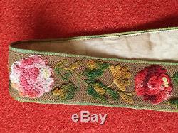 Original Vintage Circa 1860's Civil War Era Embroidered Floral Suspenders Braces
