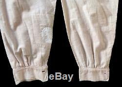 Original Vintage Civil War Era Victorian Ivory Color Flannel Cotton Shirt M / L