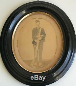 Orignal LgFormat Photograph Civil War Union Soldier Hand-Colored Shadowbox Frame
