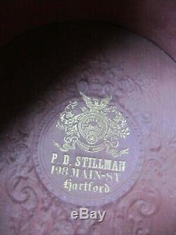 PERFECT Tall Antique Civil War / Antebellum Lincoln STOVE PIPE Hat, HARTFORD CT