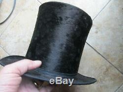 PERFECT, Tall Antique Civil War / Antebellum, Lincoln Stove Pipe Hat, Boston