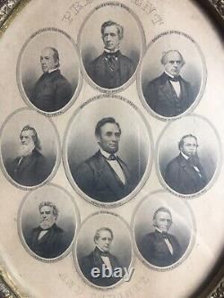 PRESIDENT ABRAHAM LINCOLN AND WHITE HOUSE CABINET/ CIVIL WAR in FRAME-ANTIQUE