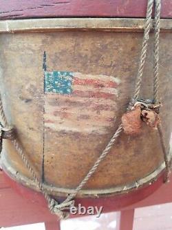 Painted Civil War Era Union 13 Star Flag Drum