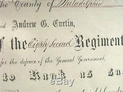 Pennsylvania CIVIL War Commander 1864 Commission