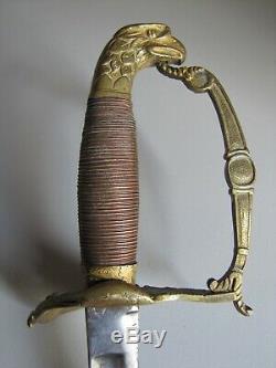 Pre-Civil War Widmann Eaglehead Officers Sword withBrass Scabbard