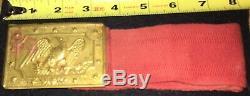 RARE Civil War ERA Militia Brass Panel Plate Belt Buckle Original Belt