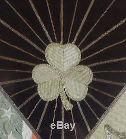 RARE Irish Brigade Infantry Civil War 13 Star US Flag Antique Silk Embroidered