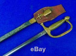 RARE US Civil War Antique 19 Century Engraved Musician's Sword with Scabbard Frog