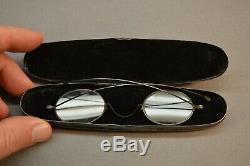 Rare Antique 1860s Civil War Era Eyeglasses Case Parker Spring Loaded Glass