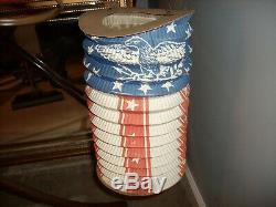 Rare C1860s civil war lincoln era us. Flag parade lantern, printed union & eagl